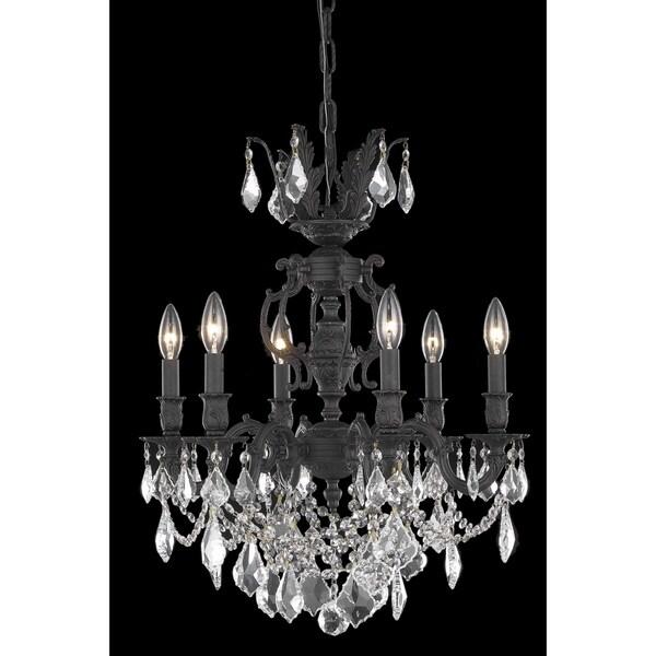 Fleur Illumination Collection Dark Bronze Finish Chandelier with Elegant-cut Crystals