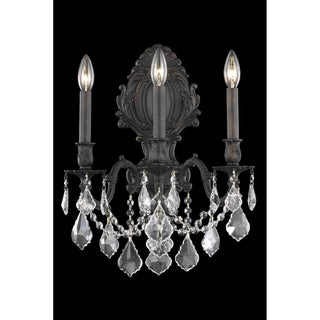 Fleur Illumination Collection Wall Sconce D:14in H:18in E:9.5in Lt:3 Dark Bronze Finish (Elegant Cut Crystals)