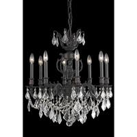 Fleur Illumination Collection Chandelier D:24in H:26in Lt:8 Dark Bronze Finish (Elegant Cut Crystals)