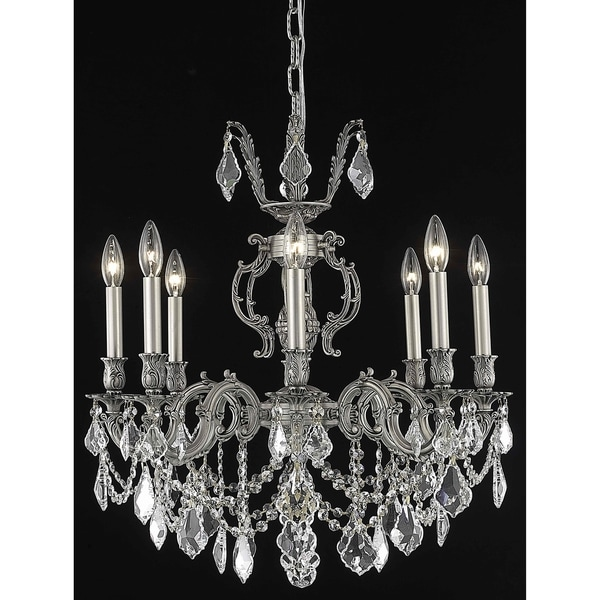 Fleur Illumination Collection Chandelier D:24in H:26in Lt:8 Pewter Finish (Elegant Cut Crystals)