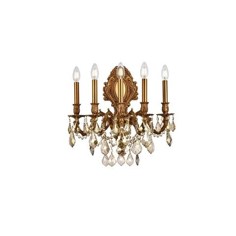 Fleur Illumination Collection Wall Sconce D:21in H:24in E:11in Lt:5 French Gold Finish (Royal Cut Crystals)