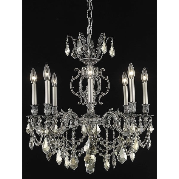 Fleur Illumination 8-light Pewter Finish Chandelier with Royal-cut Crystals