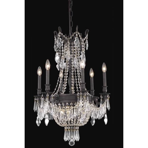 Fleur Illumination Collection Chandelier D:22in H:34in Lt:9 Dark Bronze Finish (Elegant Cut Crystals)