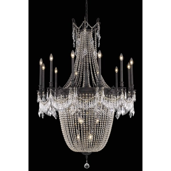 Fleur Illumination Collection Chandelier D:40in H:57in Lt:22 Dark Bronze Finish (Elegant Cut Crystals)