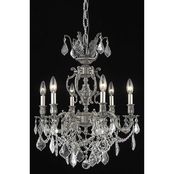 Fleur Illumination Collection Chandelier D:20in H:23in Lt:6 Pewter Finish (Elegant Cut Crystals)