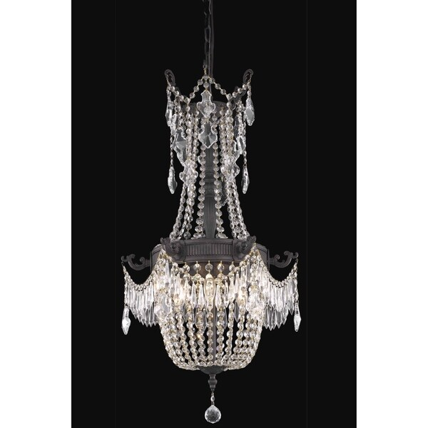 Fleur Illumination Collection 6-Light Dark Bronze Finish Pendant with Elegant Cut Crystals