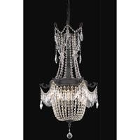 Fleur Illumination Collection Pendant D:18in H:38in Lt:6 Dark Bronze Finish (Elegant Cut Crystals)