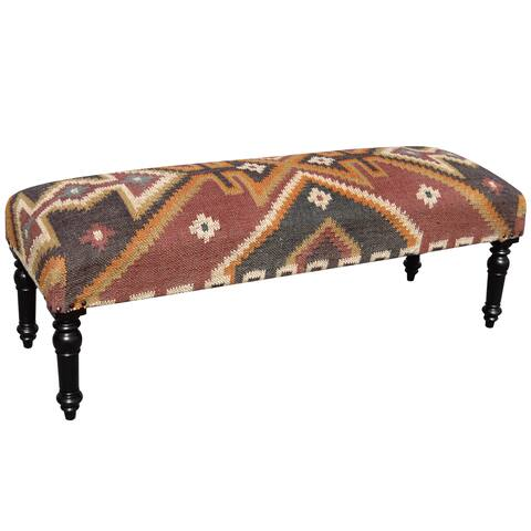 Handmade Indo Wool and Jute-upholstered Wooden Bench (India)