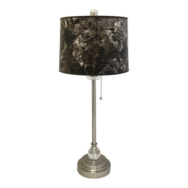 "Royal Designs 28"" Brushed Nickel Buffet Lamp with Dark Brown Marble Hardback Lamp Shade"