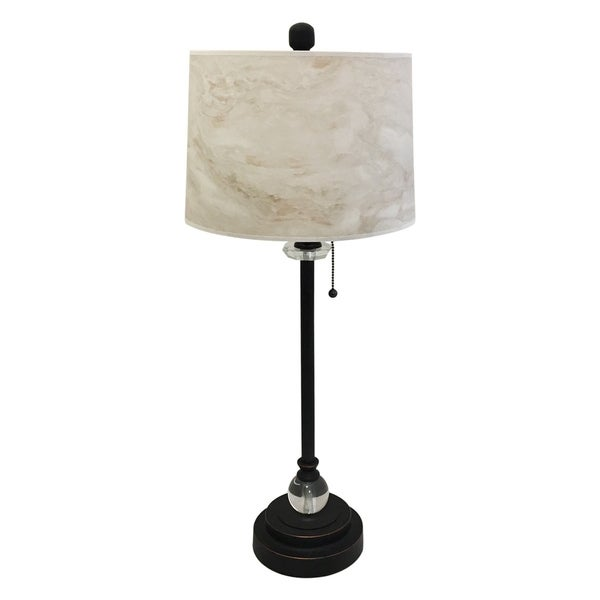 "Royal Designs 28"" Oil Rub Bronze Buffet Lamp with White Marble Texture Hardback Lamp Shade"