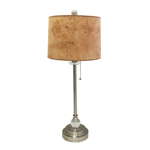 "Royal Designs 28"" Brushed Nickel Buffet Lamp with Light Brown Wood Texture Hardback Lamp Shade"