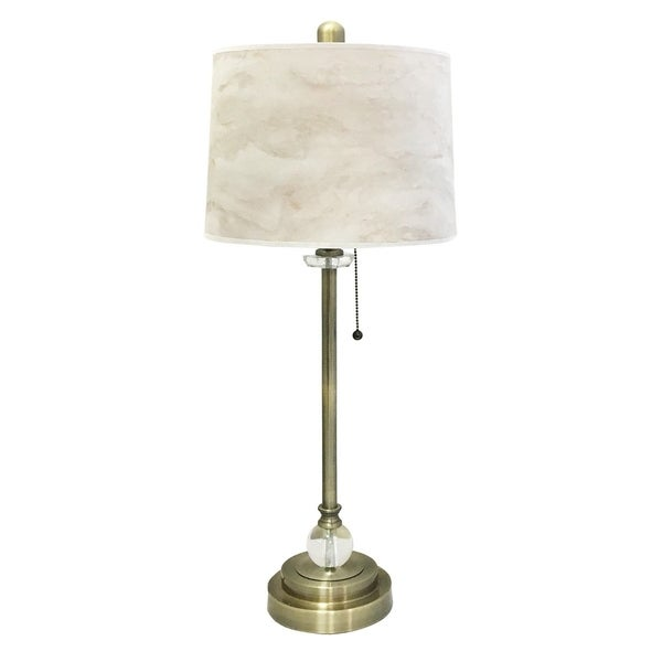"Royal Designs 28"" Antique Brass Buffet Lamp with White Marble Texture Hardback Lamp Shade"