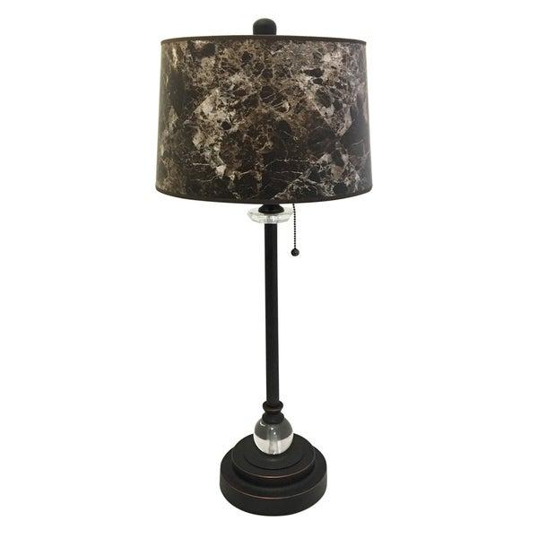 "Royal Designs 28"" Oil Rub Bronze Buffet Lamp with Dark Brown Marble Hardback Lamp Shade"