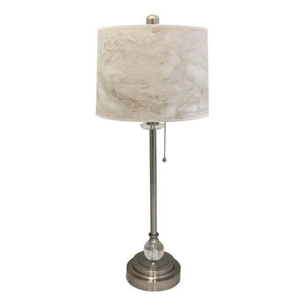 """Royal Designs 28"""" Brushed Nickel Buffet Lamp with White Marble Texture Hardback Lamp Shade"""