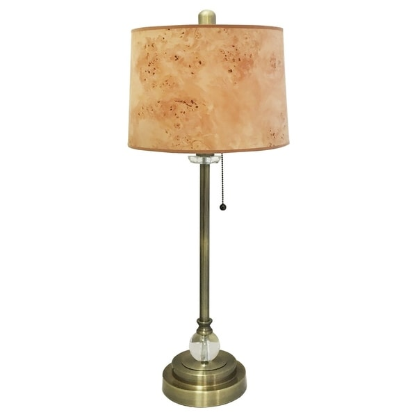 "Royal Designs 28"" Antique Brass Buffet Lamp with Light Brown Wood Texture Hardback Lamp Shade"