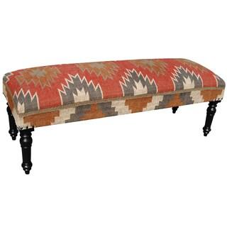 "Handmade Herat Oriental Indo Wool & Jute-upholstered Wooden Bench (India) - 48"" x 18"" x 16"""