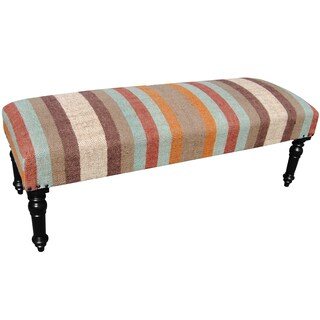 "Handmade Herat Oriental Indo Wool & Jute-upholstered Wooden Bench - 48"" x 18"" x 16"""