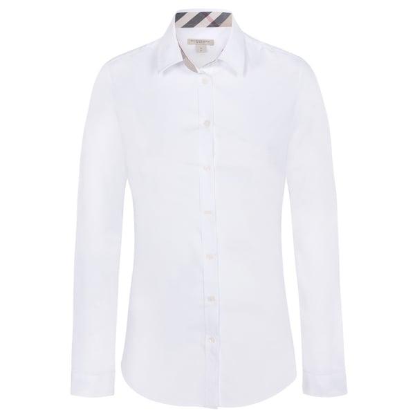 d018bfacfa96 Shop Women s Burberry White Dress Shirt - Free Shipping Today ...