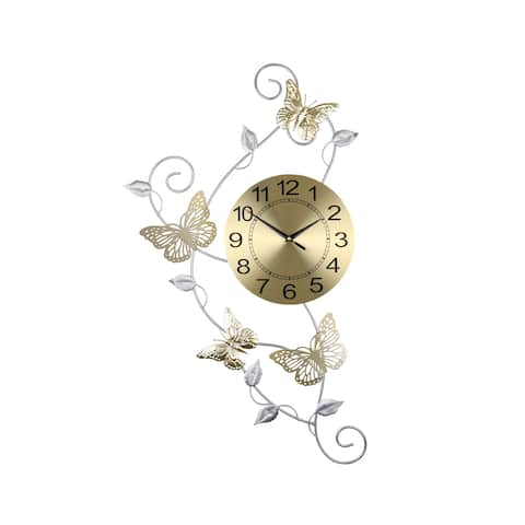 "Gold And Silver Metal Wall Clock With Butterflies And Leaves 30"" x 17"" Elegant Home Décor"
