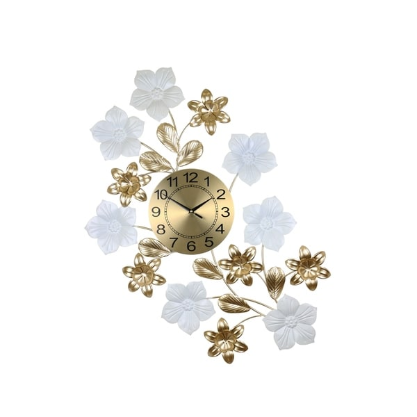 "Gold And White Metal Wall Clock With White Flowers 34"" x 26"" Elegant Home Décor"