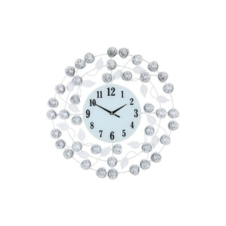 "Elegant Circular Wall Clock With White Flowers And Leaves 21"" Shabby Chic Home or Office Décor"