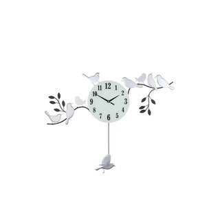 "Wall Clock With Silver Birds Sitting On Black Branches With White And Black Clock Face 30"" x 23"""