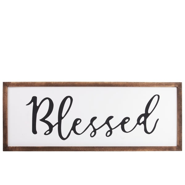 """UTC55101: Wood Rectangular Wall Decor with """"Blessed"""" Script Painted Finish White"""