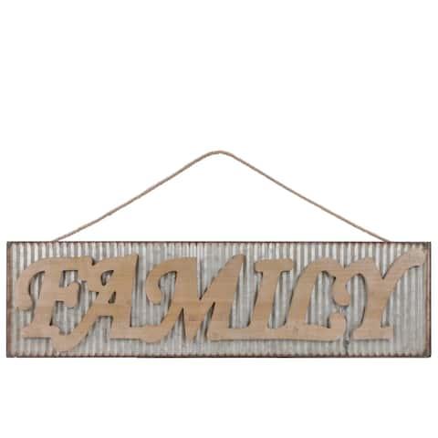 "UTC41215: Metal Rectangular Wall Art with Wood Alphabet ""FAMILY"", Rust Effect Edges and Rope Hanger Galvanized Finish Gray"