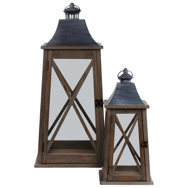 """UTC56405: Metal Square Lantern with Metal Top, Ring Handle, """"X"""" Design Body and Flared Bottom Set of Two Natural Finish Brown"""