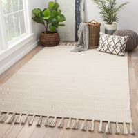Ahmet Handmade Geometric Ivory/ Light Gray Area Rug (9' X 12')