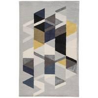 Didion Handmade Geometric Light Gray/ Multicolor Area Rug (9' X 13')