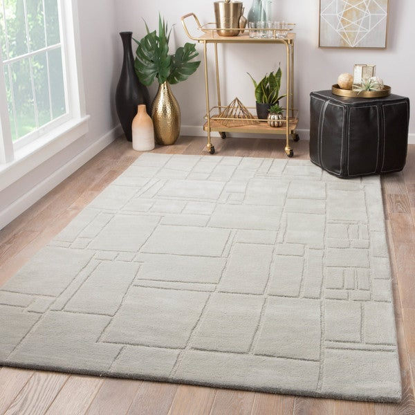 Ellington Handmade Geometric Light Gray Area Rug (9' X 12')
