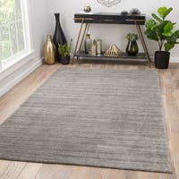 Fleet Handmade Solid Silver/ Black Area Rug (10' X 14') - 10' x 14'