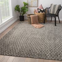 """Norden Hand-Knotted Geometric Dark Gray/ Ivory Area Rug (9' X 12') - 8'10""""x11'9"""""""