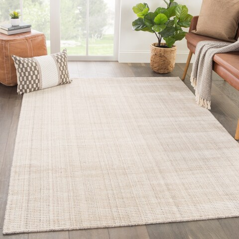 Phase Handmade Solid Ivory/ Beige Area Rug (10' X 14') - 10'x14'