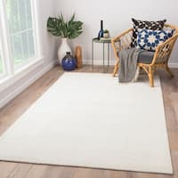 Phase Handmade Solid White/ Light Gray Area Rug (9' X 12')