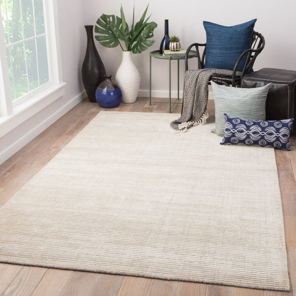 Shop Phase Handmade Solid Ivory Light Gray Area Rug 10