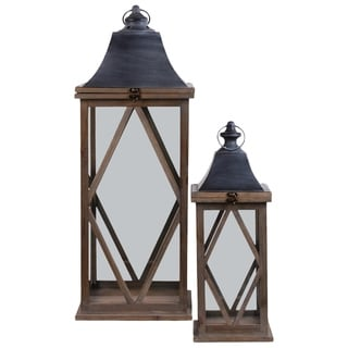 UTC56403: Wood Square Lantern with Metal Pierced Finial Top, Ring Handle and Diamond Design Body Set fof Two