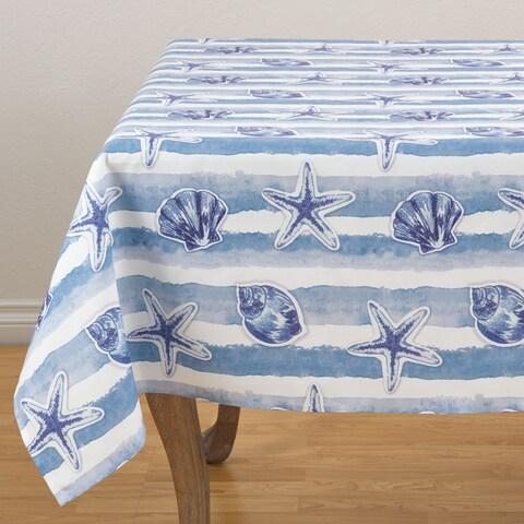 """Watercolor Sea Stripe Tablecloth - 56"""" x 56"""""""