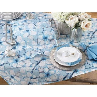 """Dewy Floral Watercolor Tablecloth - 55"""" x 55"""""""