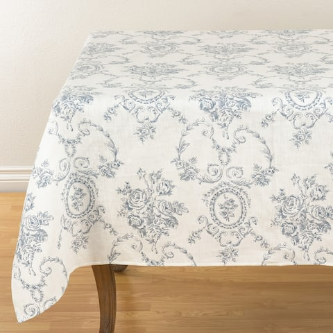 Floral Story Linen Table Topper