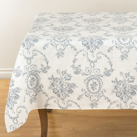 """Floral Story Linen Table Topper - 60"""" x 60"""""""