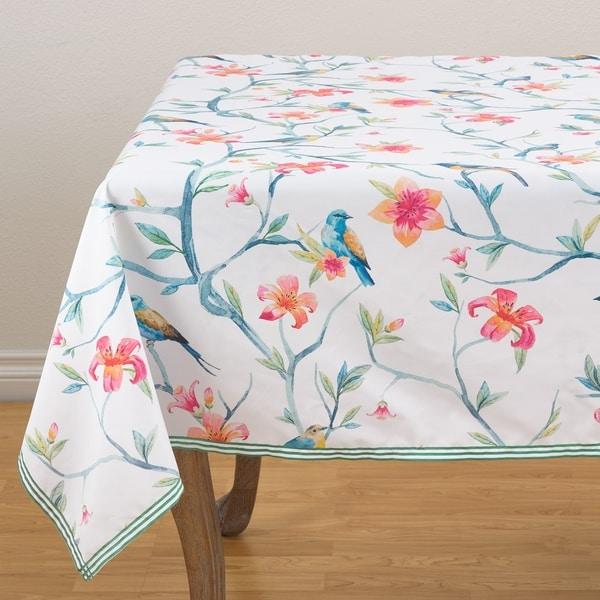 "Tropical Bird & Blossom Tablecloth - 55"" x 55"""
