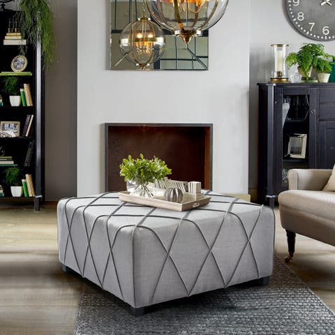 Armen Living Gemini Silver Linen Contemporary Ottoman with Piping Accents and Wood Legs