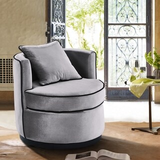Armen Living Truly Contemporary Grey Velvet with Black Velvet Piping Swivel Chair