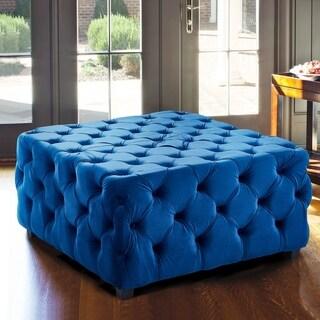 Armen Living Taurus Blue Velvet Upholstered Wood-legged Contemporary Ottoman