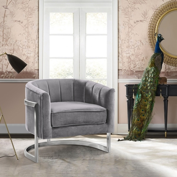 Shop Armen Living Kamila Contemporary Accent Chair in Grey Velvet ...