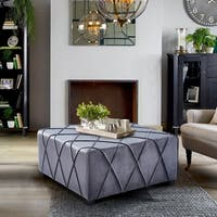 Armen Living Gemini Contemporary Grey Velvet Ottoman with Piping Accents and Wood Legs