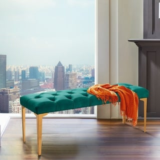 Armen Living Hayley Contemporary Bench in Green Velvet and Gold Stainless Steel Finish