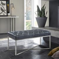 Armen Living Noel Contemporary Bench in Grey Faux Leather and Brushed Stainless Steel Finish